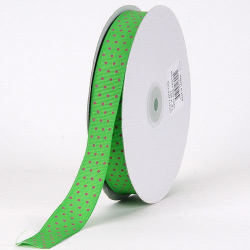 Grosgrain Ribbon Swiss Dot Emerald with Fuchsia Dots ( W: 3/8 inch | L: 50 Yards ) -