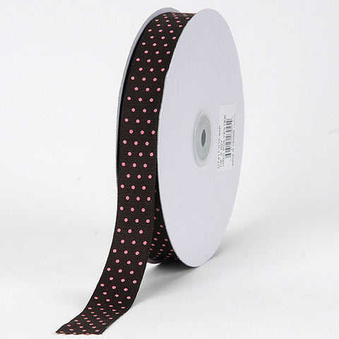 Grosgrain Ribbon Swiss Dot Chocolate with Pink Dots ( W: 3/8 inch | L: 50 Yards ) -