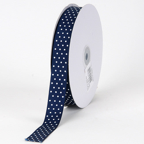 Grosgrain Ribbon Swiss Dot Navy with White Dots ( 5/8 inch | 50 Yards ) -