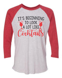 "Unisex Christmas Soft Tri-Blend Baseball T-Shirt ""It's Beginning To Lock A Lot Like Cocktails"" Rb Clothing Co"