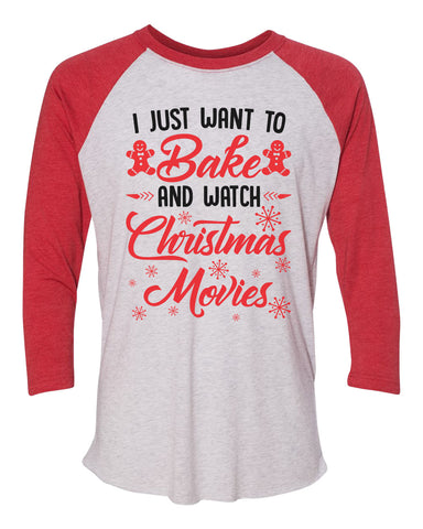 "Unisex Christmas Soft Tri-Blend Baseball T-Shirt ""I Just Want to Bake And Watch Christmas Movies"" Rb Clothing Co"