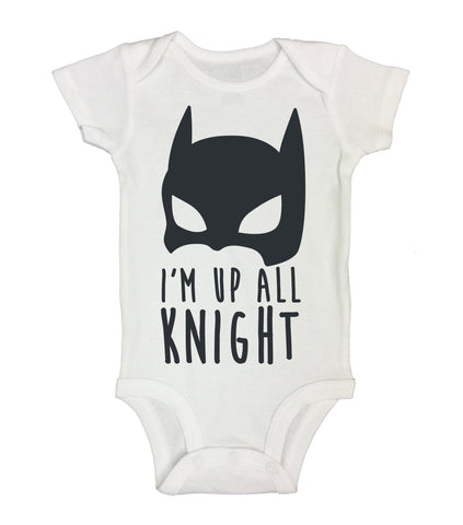 "Batman Inspired Baby Bodysuit ""Im Up All Knight"" RB Clothing Company"