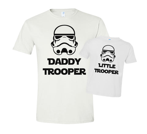 Father & Child 2 pc 'Daddy Trooper' & 'Little Trooper' Star Wars Inspired T-Shirt Set  RB Clothing Co