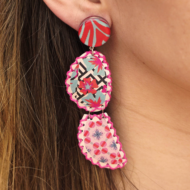 Resin & Metal Patterned Earrings