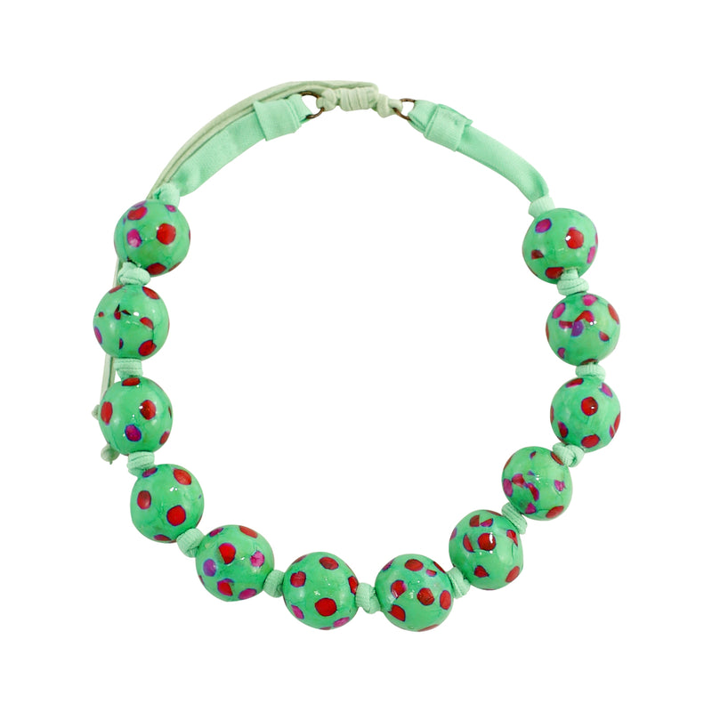 Water Green Necklace w/ Patterned Balls & Suede