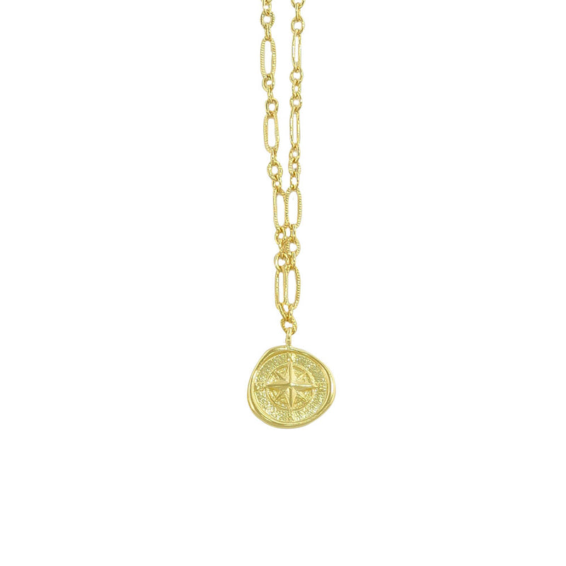 Golden Necklace w/ Compass Pendant