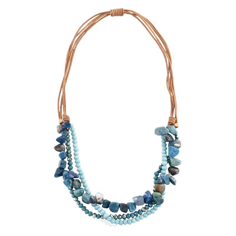 Necklace w/ Blue Stones & Crystals