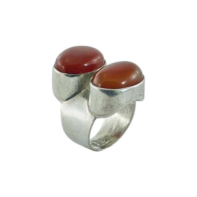Sterling Silver Ring w/ Red Stones