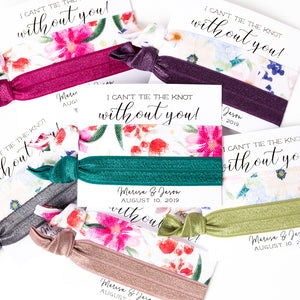 Personalized Floral Wedding Shower Hair Tie Favors