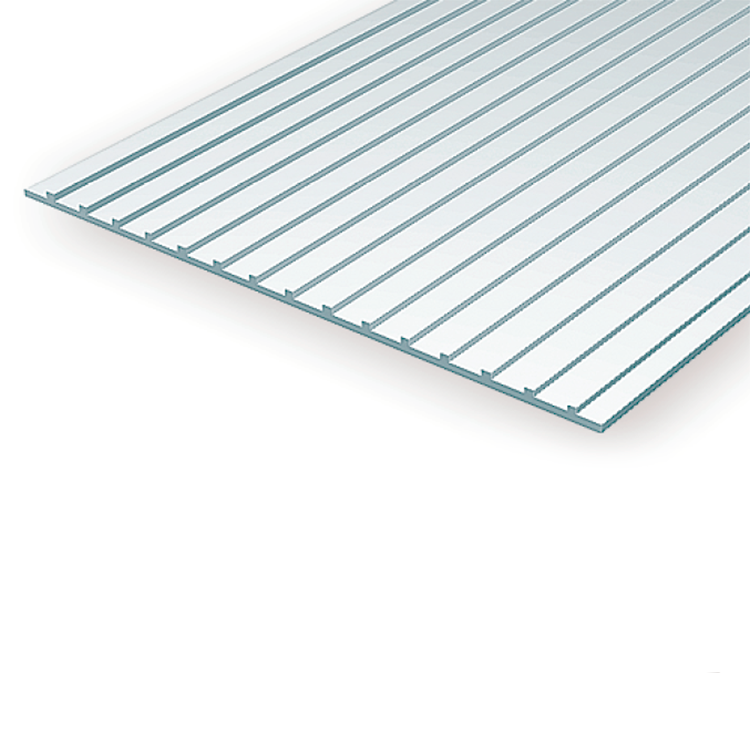 "Polystyrene: .040 Standing Seam Roof Sheets - 6""x12"""