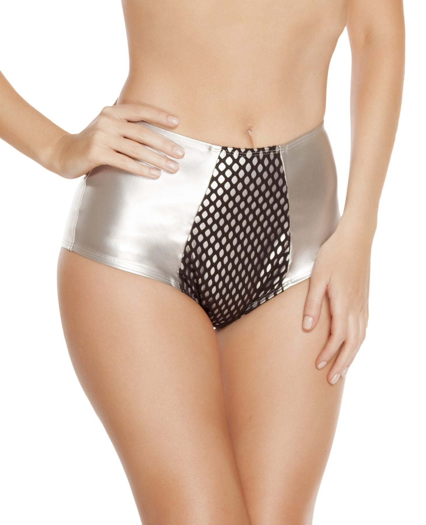 SH3219 - High-Waisted Leatherette Shorts with Fishnet Detail