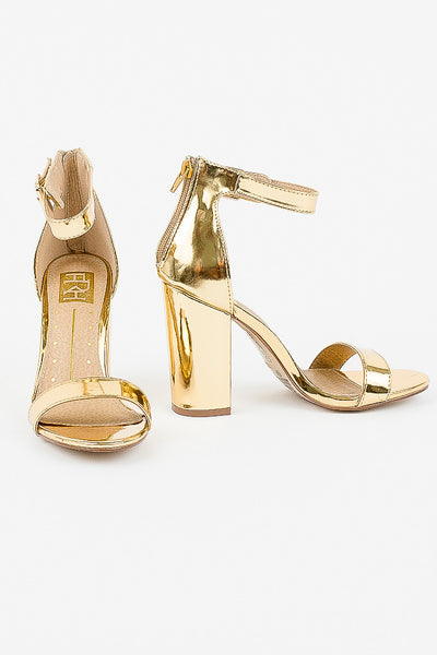 Shiny Gold Patent Constance Heels