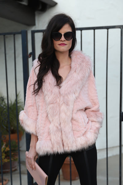 PRE-ORDER: LONDON LOVE BLUSH FAUX FUR CAPE