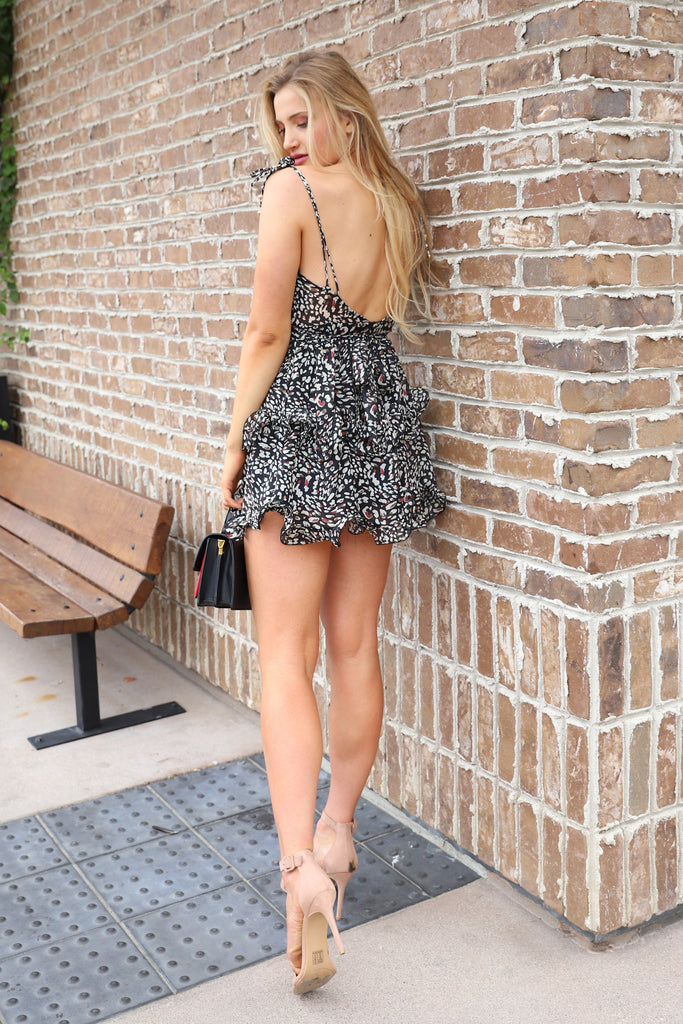 LIFE OF THE PARTY BLACK ANIMAL PRINT DRESS
