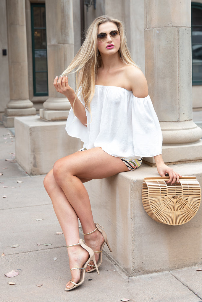 EASY MATCH OFF THE SHOULDER WHITE TOP