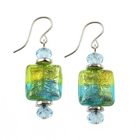 "Venetian Glass ""Brazilian Beach Party"" Earrings"