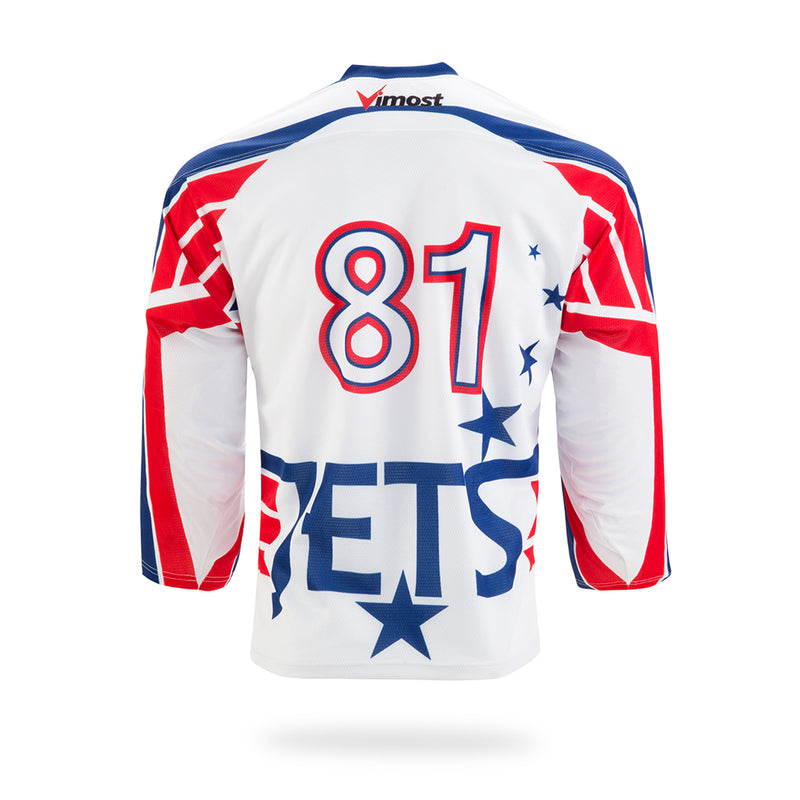 JETS Design White Ice Hockey Jersey