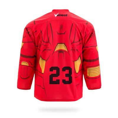 Iron Man Design Red Ice Hockey Jersey-Vimost Sports