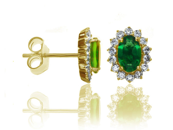 Diamond & Emerald Cluster Earrings