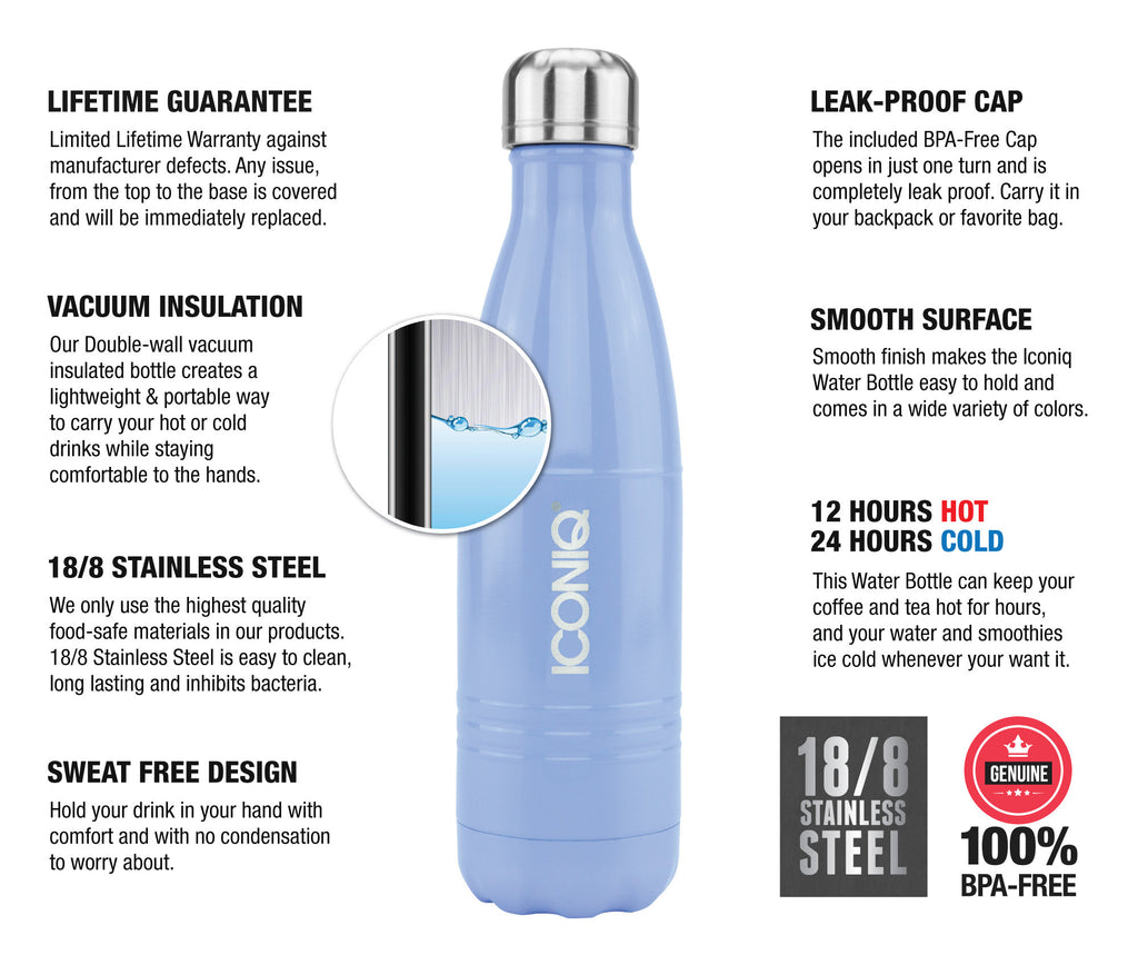 Iconiq 17oz Purple Water Bottle With Straw Cap Stainless