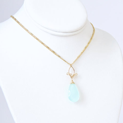 Pamela - Chalcedony, 14k Gold Filled Necklace