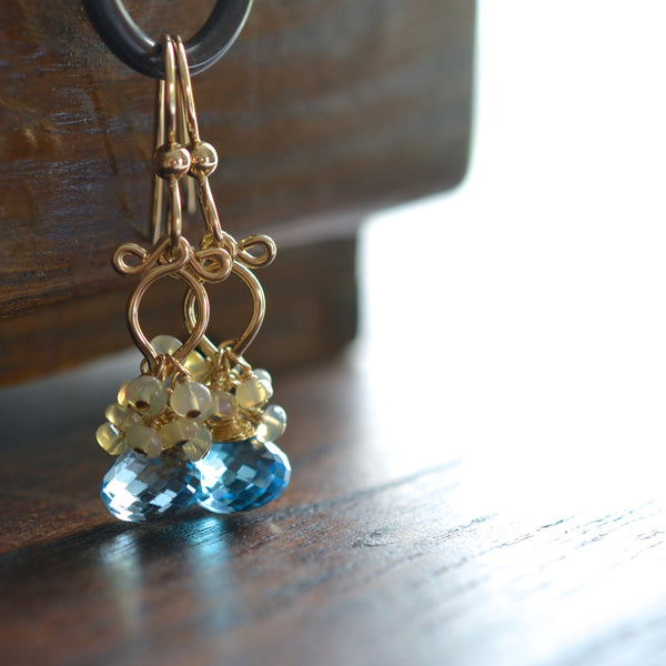 Atasi - Sky Blue Topaz, Ethiopian Opal 14k Gold Filled Earrings