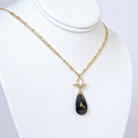Pamela - Black Spinel, 14k Gold Filled Necklace