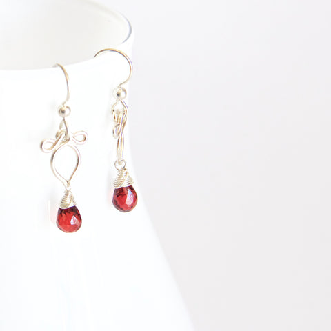 Arabella - Red Garnet, Sterling Silver Earrings