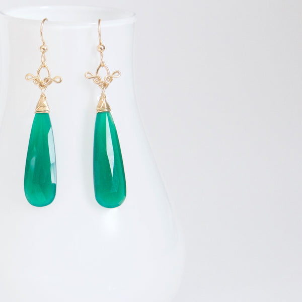 Salome - Green Onyx, 14k Gold Filled Long Earrings