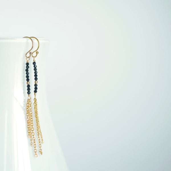 Piper -Black Spinel, 14k Gold Filled Tassel Earrings
