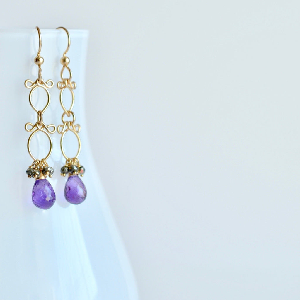 Sofi - Amethyst, Pyrite, 14k Gold Filled Earrings