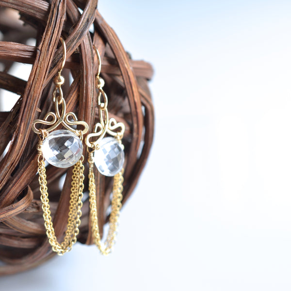Talia - Crystal Quartz 14k Gold Filled Earrings