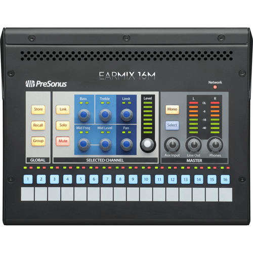 PreSonus EarMix 16M 16-Channel AVB-Networked Personal Monitor Mixer