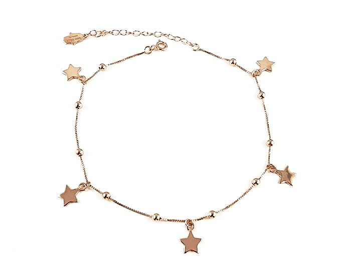 925 Sterling Silver Stars Anklet - 14K Rose Gold Plated - Mosaic Jewels