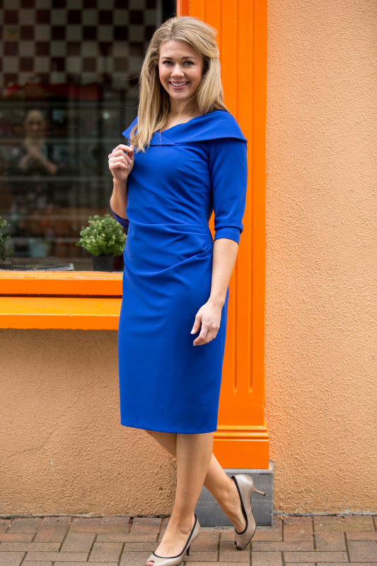 Cheryl Blue Ruched Dress - Lutsia Boutique
