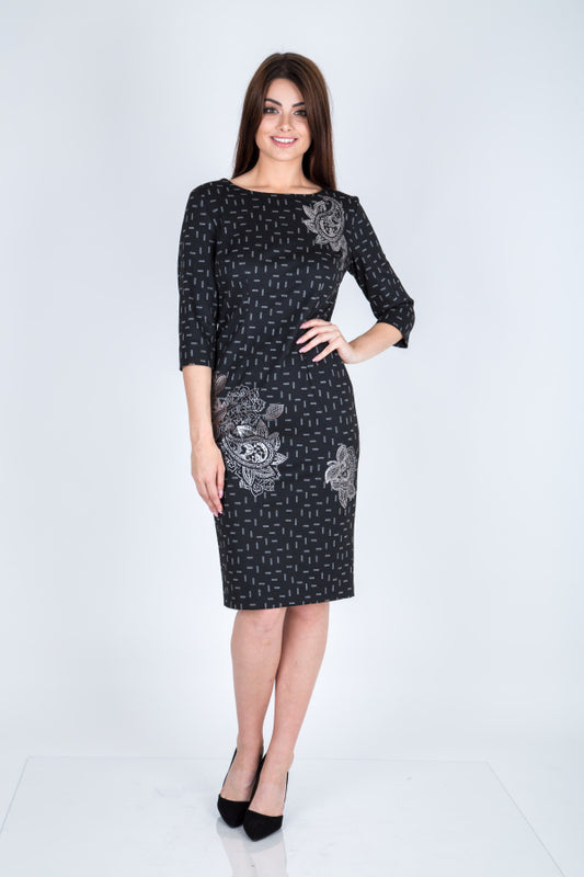 Black Foil Print Pencil Dress - Lutsia Boutique