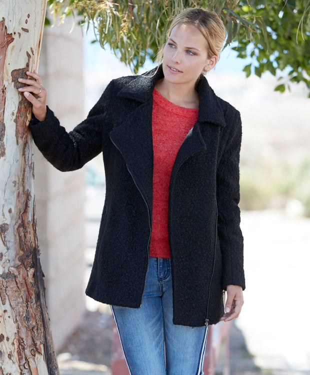 Womens Black Boucle Wool Blend Coat