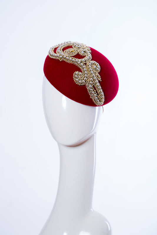 Red and Gold Beaded Wool Felt Beret Fascinator