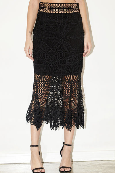Bridge lace trumpet skirt