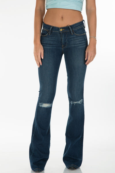 Denim pant high flare ripped