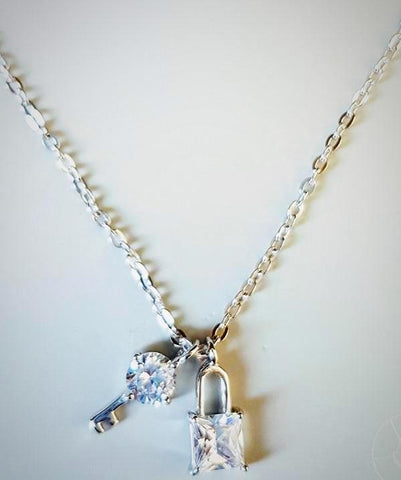 RN-833 Lock and key in swarovski made with 925 sterling silver