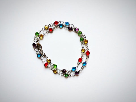 RV 272 Brass chain with multicolor stones silver plated