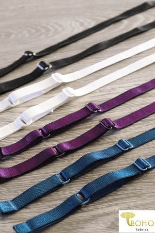 "3/8"" Satin Straps:  Adjustable Elastic Straps.  (9.5mm)"