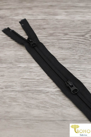 "Black, 2-Way Separating MS Zippers, Size 23""-30"""