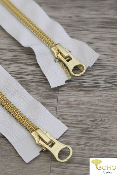 "White/Gold, 2-Way Separating Jacket Zippers, Size 25""-30"""