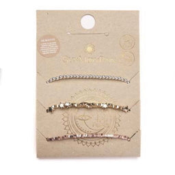 3-Pack Anklet - Rose Gold / Yellow Gold / Silver Hematite