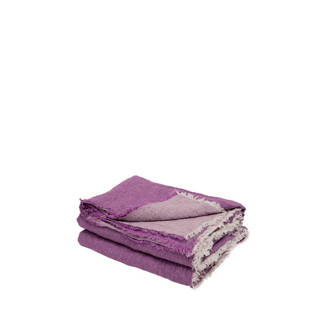 Throw - Vice Versa / Crumpled Washed Linen - Orchidee / Givre