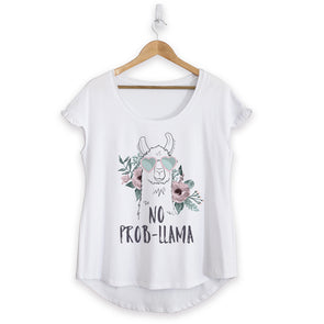 No Probllama Cotton Ruffle Tee