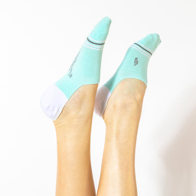 Faceplant Bamboo® No Show Socks - Aqua/White