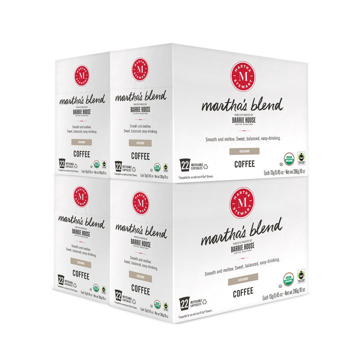 Martha's Blend<br>Single Serve Capsules<br>4 boxes / 22 ct per box